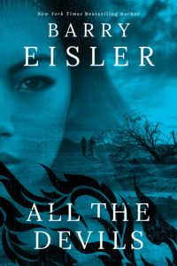 All the Devils cover. A half-transparent woman's face stares forward. In the background, two silhouetted men walk through a dystopian landscape.