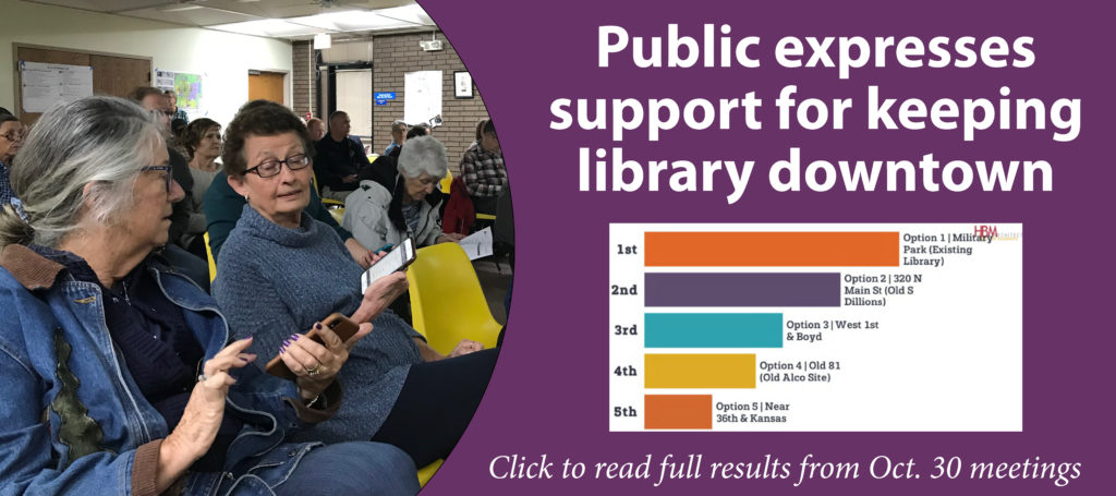 "Slide with text ""Public expresses support for keeping library downtown."""