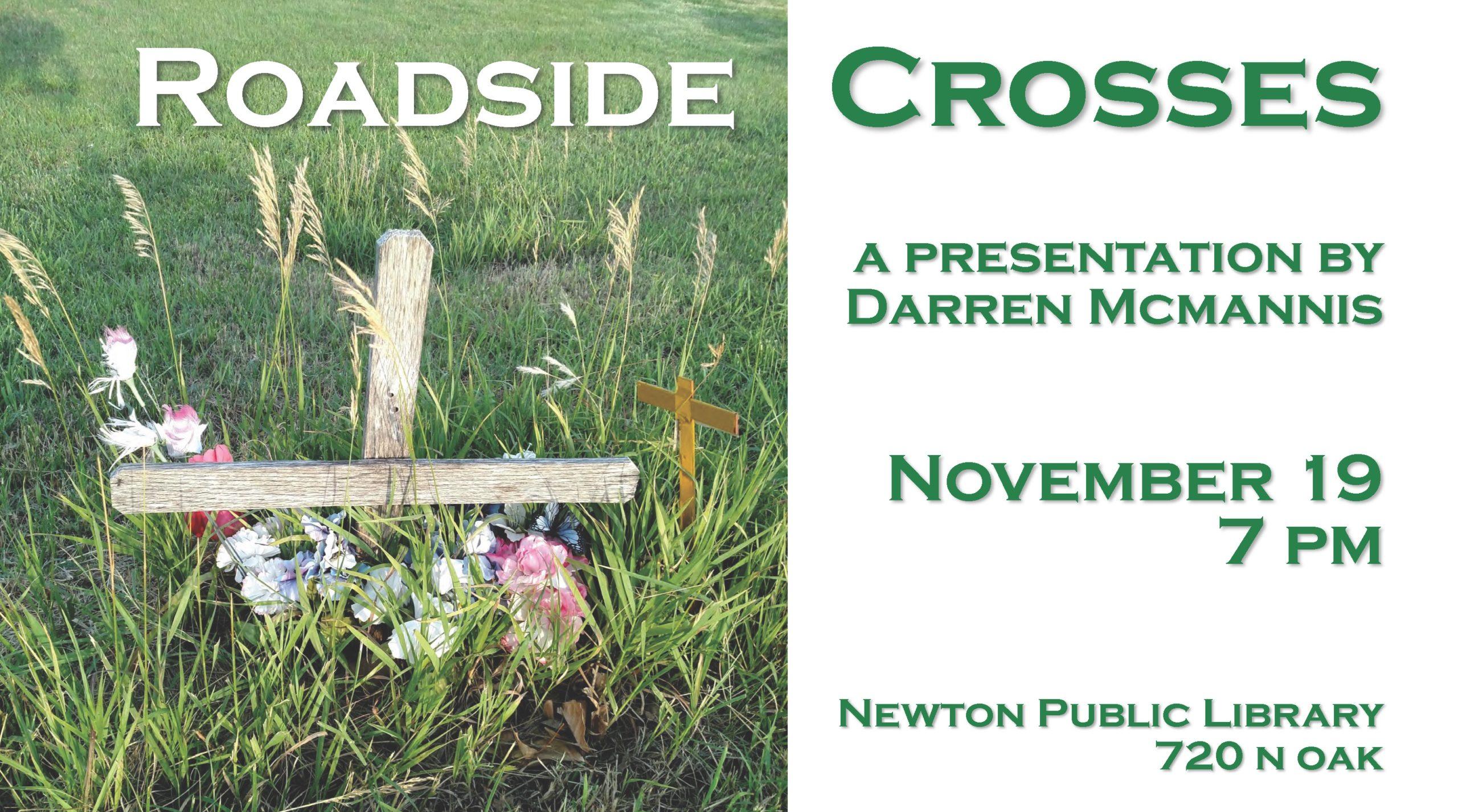 "Flyer reading ""Roadside Crosses: A presentation by Darren McMannis,"" Nov. 19, 7 p.m."""