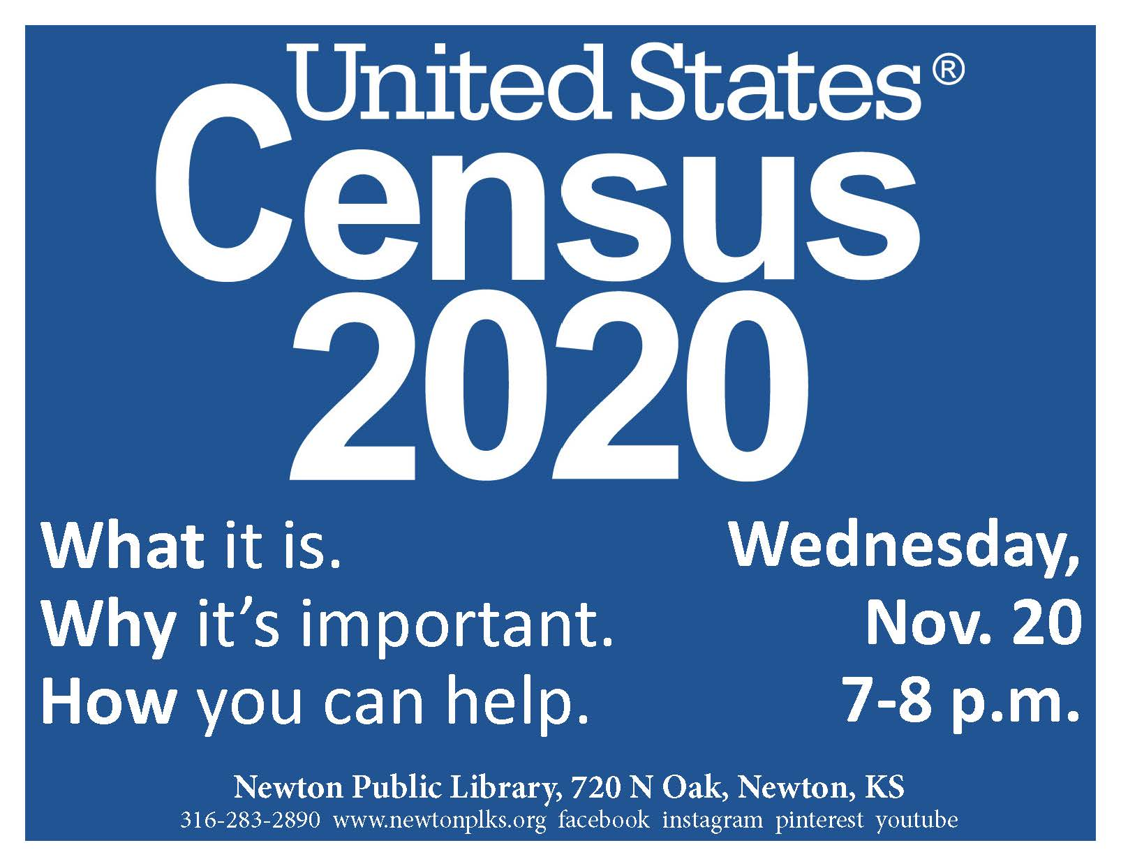 Flyer advertising US Census presentation, 7 p.m. Nov. 20.