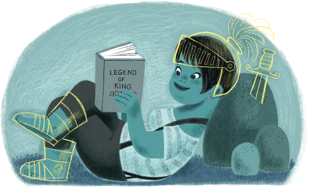 """Girl reclines against a rock and reads a book titled """"Legend of King Arthur."""""""