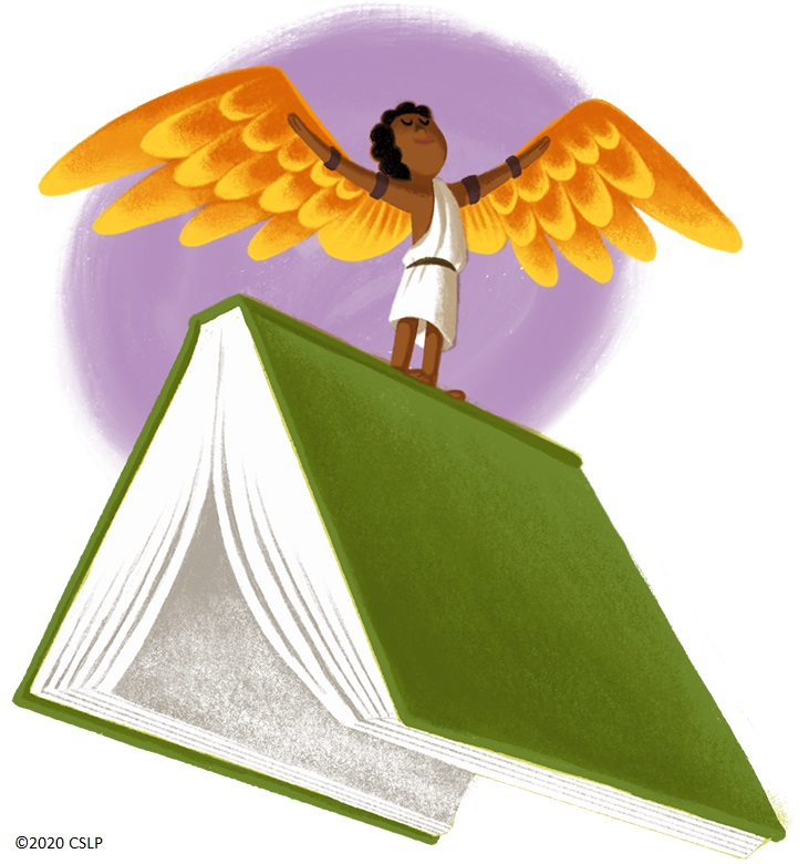 Icarus spreads his wings while perched on the spine of a splayed book.