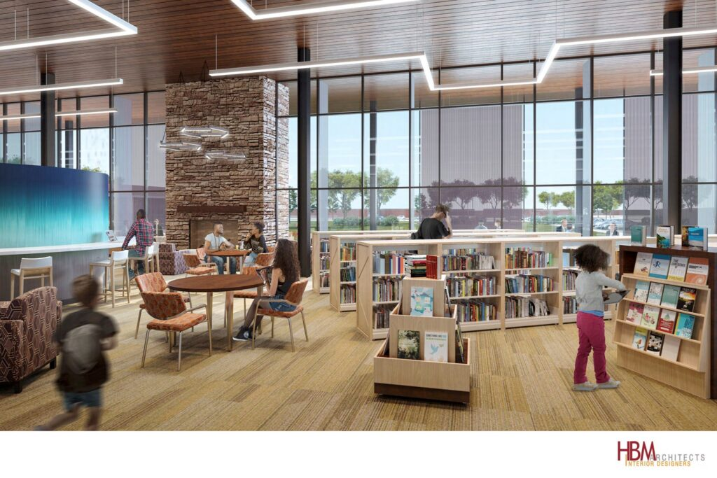 Concept art of library interior, featuring low shelving, plenty of seating, and a large bank of windows.