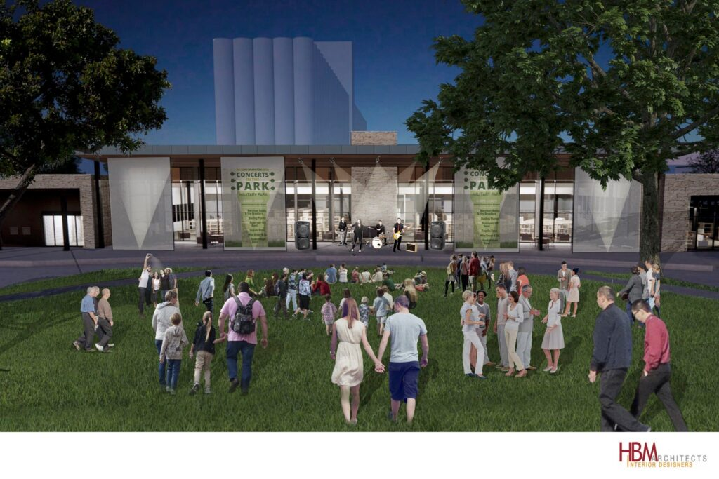 Concept art of event on front lawn of library.