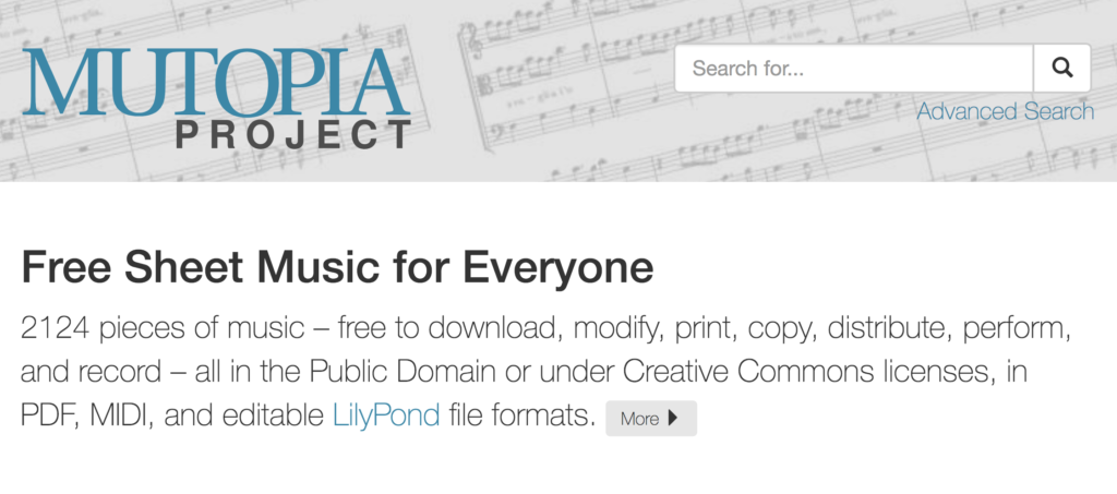 Screenshot of the homepage of Mutopia Project.