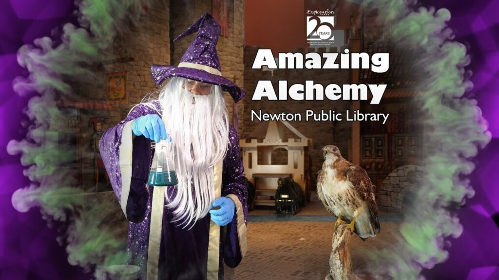 "A wizard in a sparkly purple hat holds up a laboratory beaker. The image includes the words ""Amazing Alchemy: Newton Public Library."""
