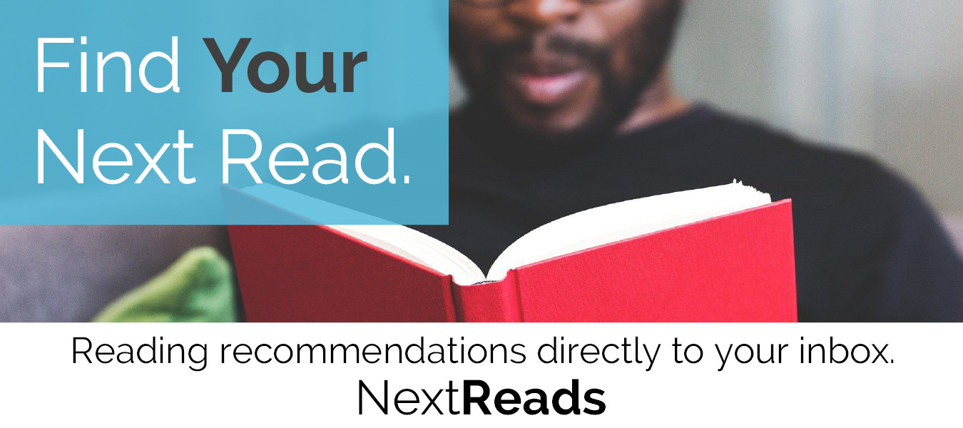 "Text stating ""Find Your Next Read. Reading recommendations directly to your inbox."" A man reads a book."
