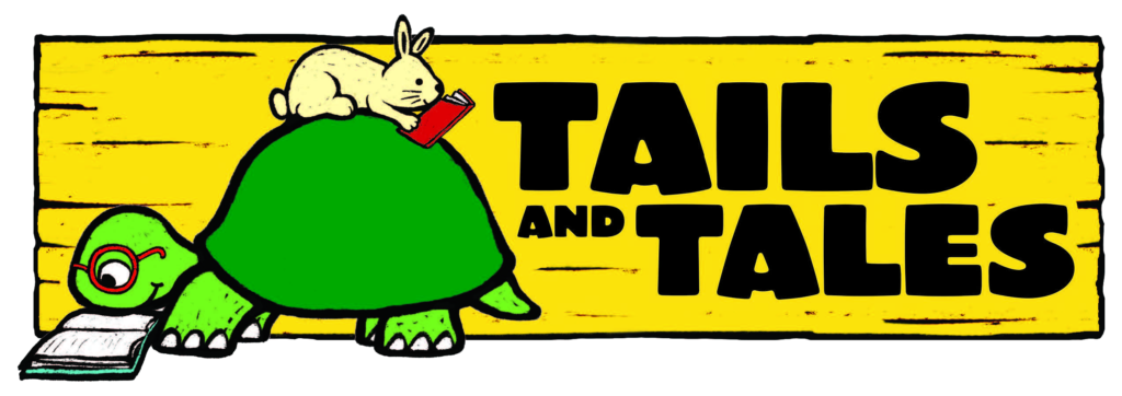 Tails and Tales logo. A turtle reads a book as a rabbit, also reading a book, sits on its back.