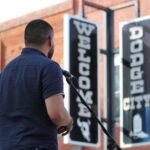 Kansas Poet Laureate Huascar Medina reads outside the Carnegie Center for the Arts in Dodge City International Festival in September 2019