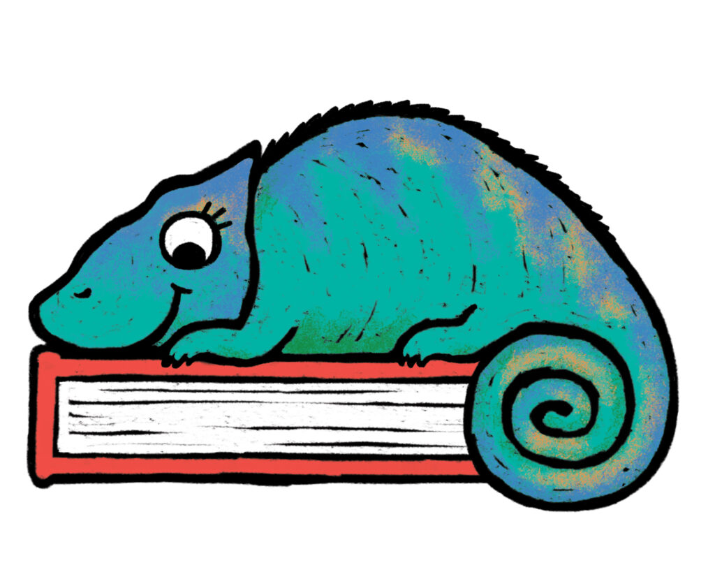 Illustration of a chameleon sitting on top of a closed book.