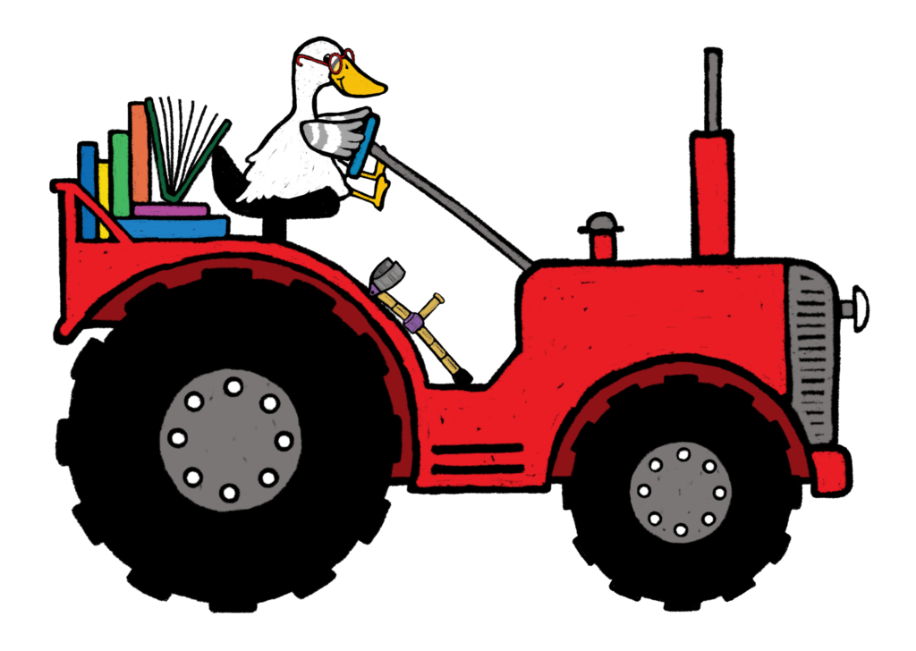 Illustration of a duck driving a tractor. The tractor is loaded down with books.